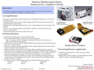 Miniature High-Resolution Display Displaytech Inc., LongMont, Colorado