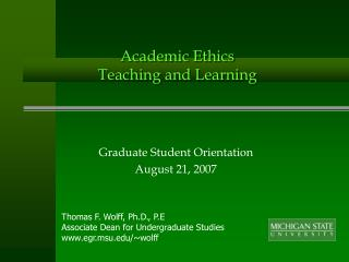Academic Ethics Teaching and Learning