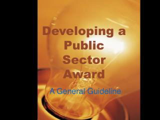Developing a Public Sector Award