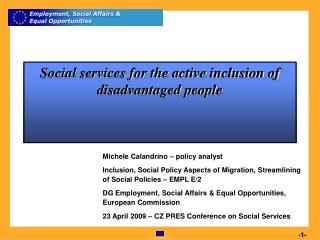Social services for the active inclusion of disadvantaged people