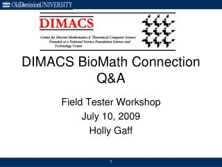 DIMACS BioMath Connection Q&A