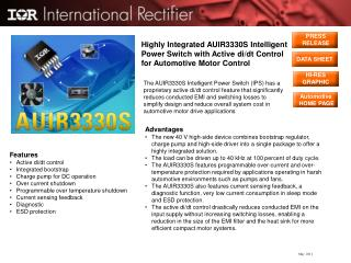 Highly Integrated AUIR3330S Intelligent Power Switch with Active di/dt Control for Automotive Motor Control