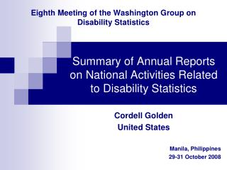 Eighth Meeting of the Washington Group on Disability Statistics