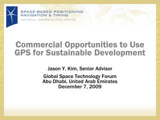 Commercial Opportunities to Use GPS for Sustainable Development