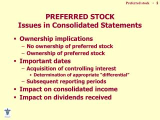 PREFERRED STOCK Issues in Consolidated Statements