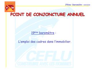 POINT DE CONJONCTURE ANNUEL