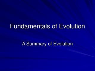 Fundamentals of Evolution