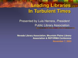 Leading Libraries In Turbulent Times