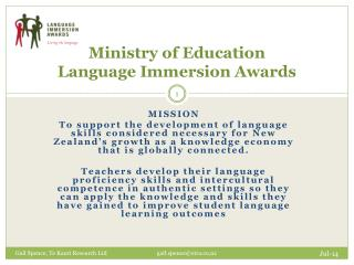 Ministry of Education Language Immersion Awards