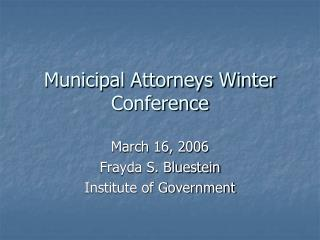 Municipal Attorneys Winter Conference