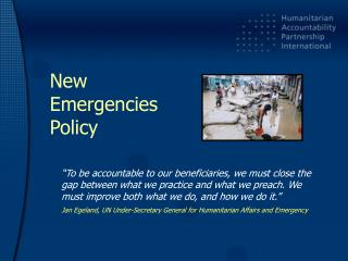 New  Emergencies  Policy