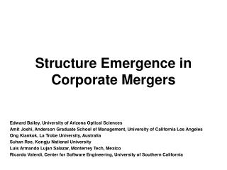 Structure Emergence in Corporate Mergers