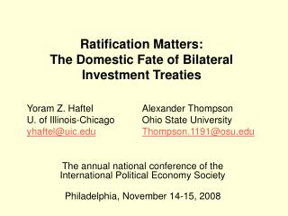 Ratification Matters: The Domestic Fate of Bilateral Investment Treaties