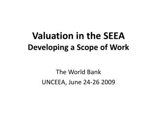 Valuation in the SEEA Developing a Scope of Work