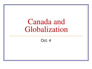 Canada and Globalization