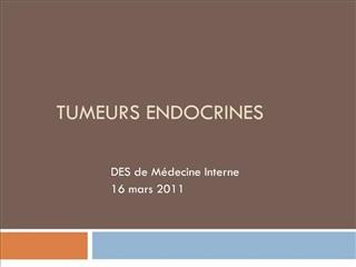 TUMEURS ENDOCRINES