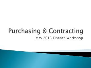 Purchasing & Contracting