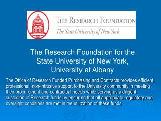 The Research Foundation  for the  State University of New York, University at Albany
