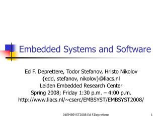 Embedded Systems and Software