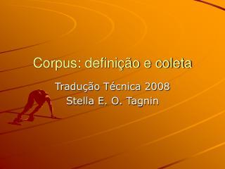 Corpus: defini  o e coleta