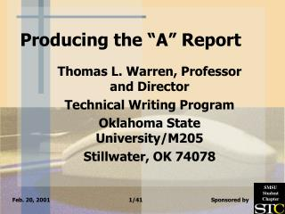 "Producing the ""A"" Report"
