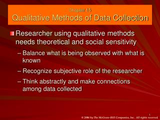 Chapter 15 Qualitative Methods of Data Collection