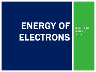 Energy of Electrons
