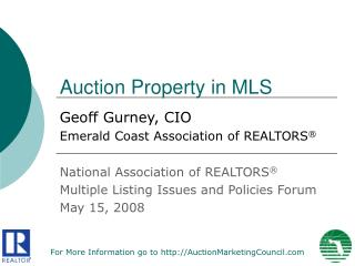 Auction Property in MLS