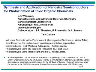 Synthesis and Application of Nanosize Semiconductors for Photoxidation of Toxic Organic Chemicals