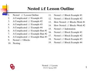 Nested  if  Lesson Outline