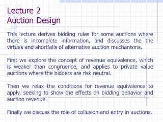 Lecture 2 Auction Design