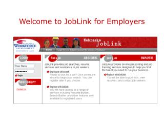 Welcome to JobLink for Employers