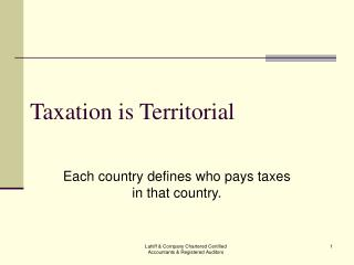 Taxation is Territorial