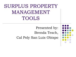 SURPLUS PROPERTY MANAGEMENT TOOLS