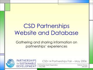 CSD Partnerships  Website and Database