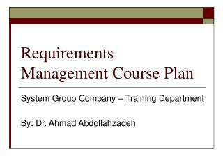 Requirements Management Course Plan