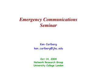 Emergency Communications Seminar