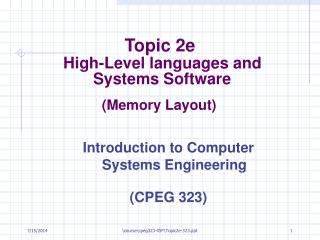 Topic 2e High-Level languages and  Systems Software