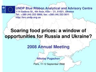 Soaring food prices: a window of opportunities for Russia and Ukraine? 2008 Annual Meeting