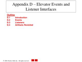 Appendix D – Elevator Events and Listener Interfaces