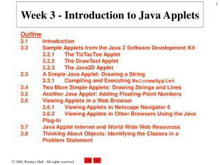 Week 3 - Introduction to Java Applets