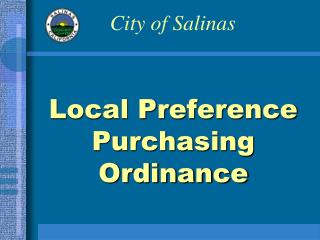 Local Preference Purchasing Ordinance