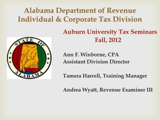 Alabama Department of Revenue 	Individual & Corporate Tax Division