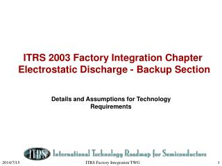 ITRS 2003 Factory Integration Chapter   Electrostatic Discharge - Backup Section