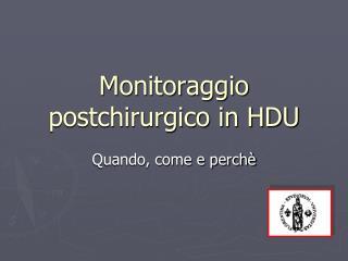 Monitoraggio postchirurgico in HDU