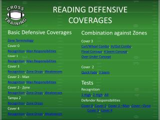 READING DEFENSIVE COVERAGES