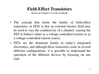 Field-Effect Transistors Based on Chapter 11 of the textbook