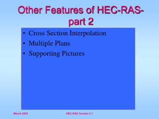 Other Features of HEC-RAS- part 2