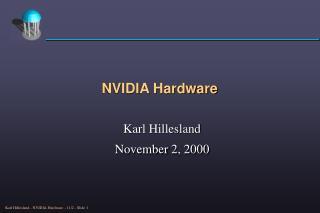 NVIDIA Hardware