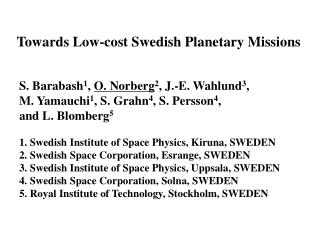 Towards Low-cost Swedish Planetary Missions